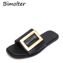 Bimolter Women Sandals 2019 New Genuine Leather Summer Fashion Buckle Female Gladiator Comfortable Shoes Woman NC060