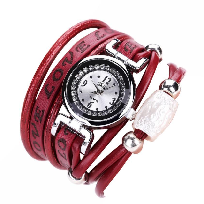 где купить Relogio Feminino Dropshipping Gift Women Watches Fine Leather Band Winding Analog Quartz Movement Wrist Watch july27 по лучшей цене