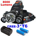 8000LM LED Headlamp 3x CREE XML T6 4 Modes Rechargeable Headlight Head Lamp Spotlight For Hunting+Charger+Battery