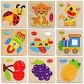1 pcs ramdom Criança Enigma De Madeira Do Bebê Brinquedo Colorido Construção Animais Puzzle De Frutas Crianças Brinquedo Educacional Dos Desenhos Animados Presente Do Enigma