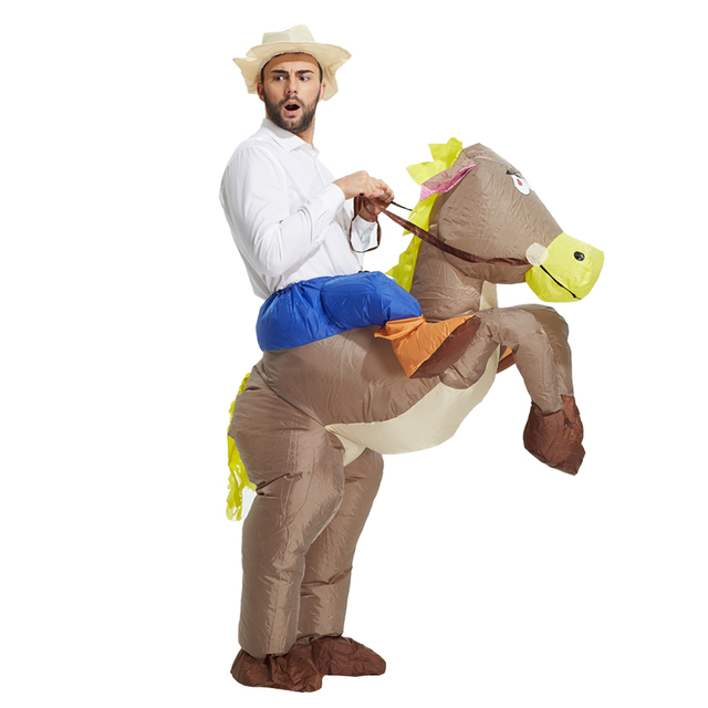 ee65cb6d549d Natale cowboy gonfiabile costume Dinosauro Giro sul cavallo Fancy party  dress Halloween cosplay T-rex
