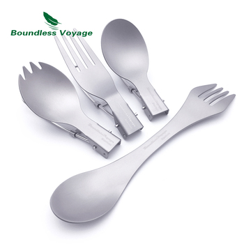 Boundless Voyage Titanium Spoon Spork Fork Set with Folding Handle Chopsticks Camping 3-in-1 Cutlery Outdoor Picnice Dinnerware цена 2017