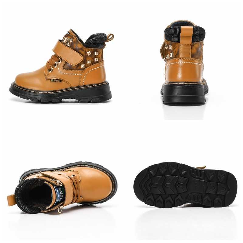2018 חדש סתיו החורף חם אמיתי עור נעלי ילדים באיכות גבוהה שלג מגפי בני מגפי ילדים נוחים חמה מקרית 1810