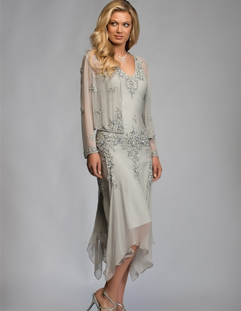 Gorgeous a line two piece chiffon mother of the bride dresses with gorgeous a line two piece chiffon mother of the bride dresses with long sleeves mid carf wedding party gowns evening dresses in evening dresses from ombrellifo Gallery
