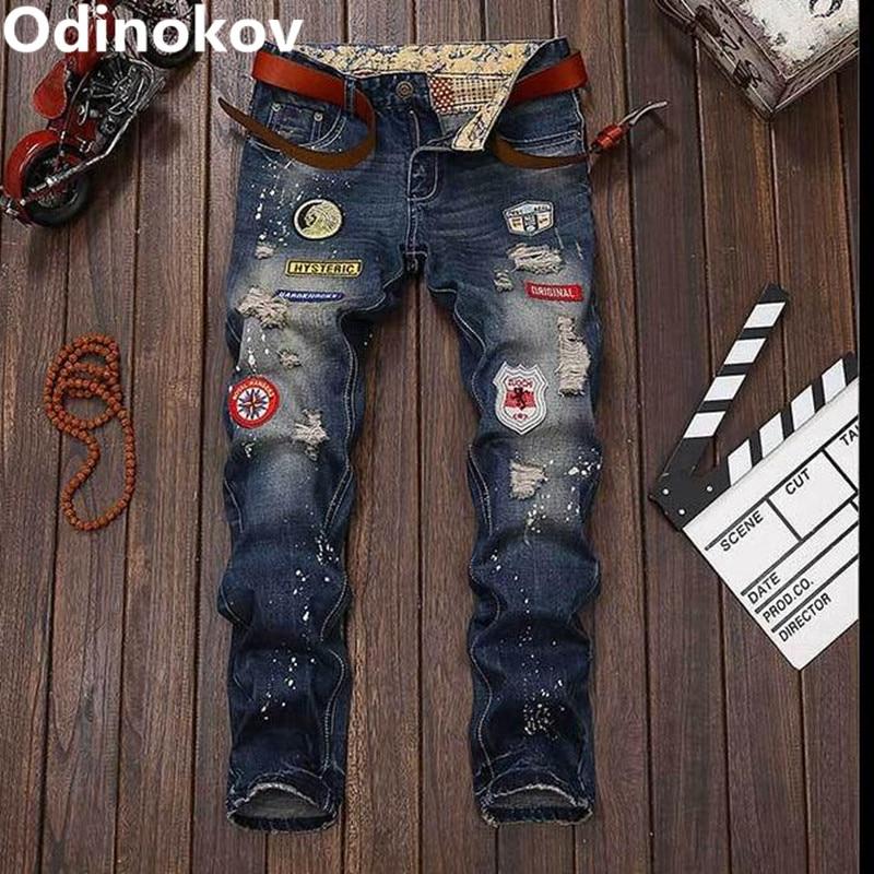 Odinokov Brand  Mens Ripped Patch Holes Skinny Jeans Slim Stretch Denim Jean Pants Trousers For Mens Boys patch jeans men slim skinny denim blue jeans ripped trousers famous brand dsel jeans elastic pants star mens stretch jeans w701