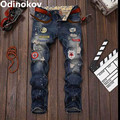 Odinokov Brand  Mens Ripped Patch Holes Skinny Jeans Slim Stretch Denim Jean Pants Trousers For Mens Boys