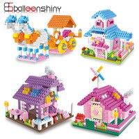 BalleenShiny Mini Building Block Model Kids Gift Doll Original Villa House Brick Adornment Decoration DIY Baby