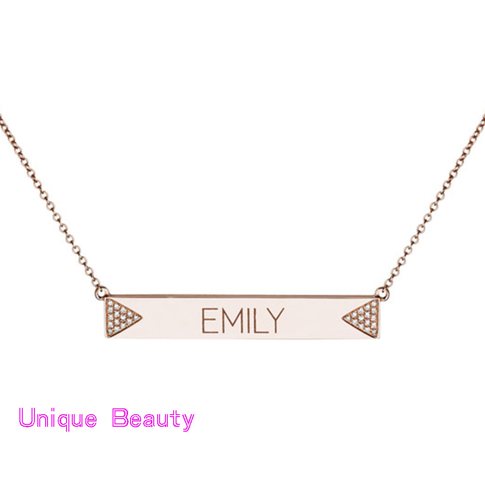 rose gold pendant enchantress personalized rg tag necklace rectangle