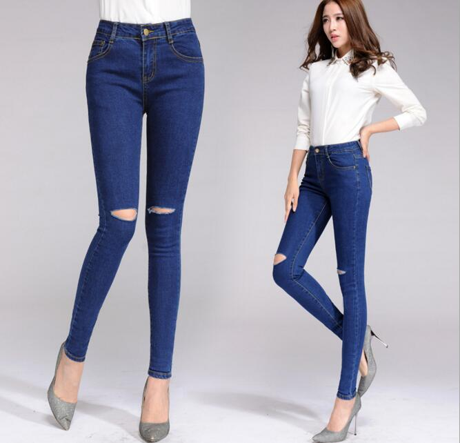 2017 Women Blue Hole Ripped Denim Jeans Pants Fashion Elastic High Waist Long Pencil Trousers Plus Size