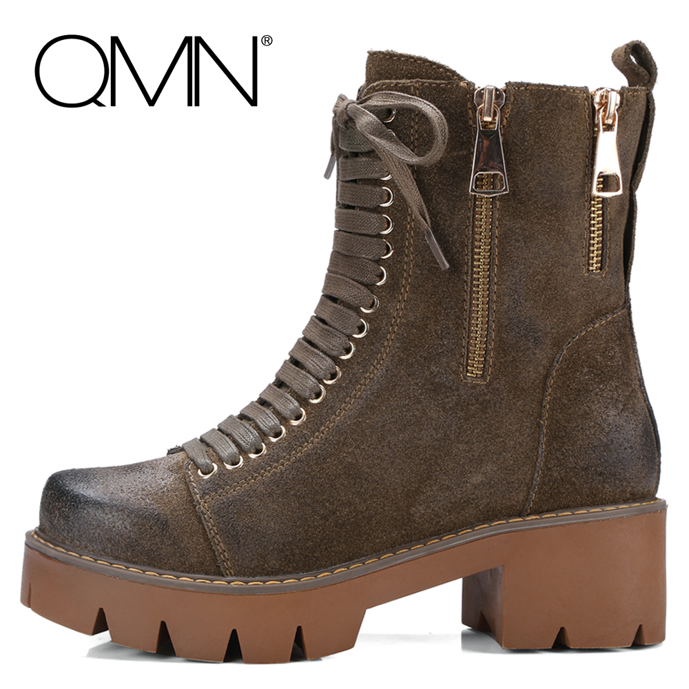 ФОТО QMN Genuine Leather Ankle Boots Women Nubuck Calfskin Military Combat Boots Zip Shoes Woman Natural Suede Winter Work Boots