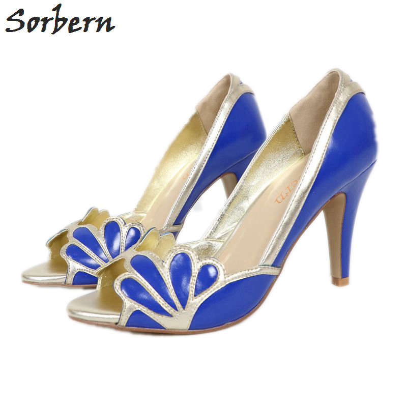 5c618ff8a6ff Royal Blue Women Shoes Peep Toe Wedding Pumps With Gold Shell Edges High  Heels Stilettos Evening Party Pumps Open Toe 2017