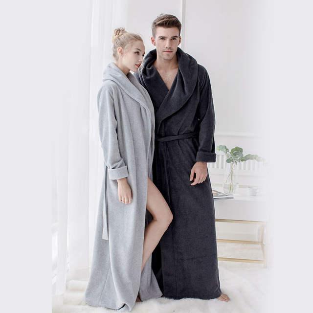 1251638cb4 Online Shop Men s Long Robes Microfiber Fleece Floor Length Plus Size Bathrobes  Sleepwear Loungewear Night Gown Pajamas Nightdress