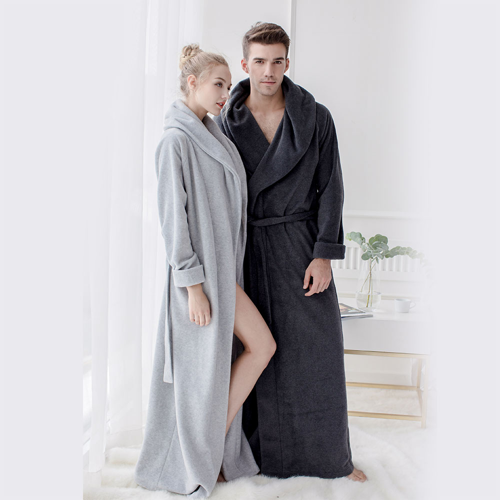 Herre og kvinders lange morgenkåber Microfiber Fleece Gulvlængde Plus størrelse Badekåber Nattøj Loungewear Fuld længde kjole Pyjamas