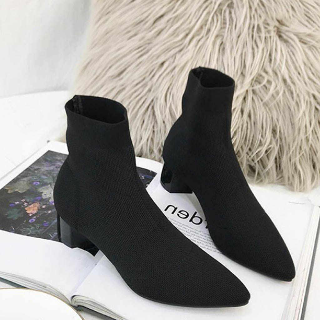 Весенне-Осенние эластичные вязаные сапоги-носки на высоком каблуке; женские фирменные дизайнерские сапоги темно-зеленого цвета; пикантные женские ботильоны с острым носком