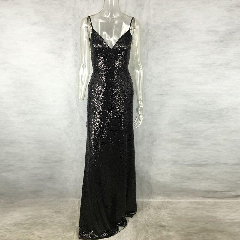 a25f6d04f9 HolaTeenYang Black Gold Sexy Deep V Neck Backless Party Sequin Dress  Evening Women Dresses Hot Nightclub Maxi Floor Length Dress-in Dresses from  Women s ...