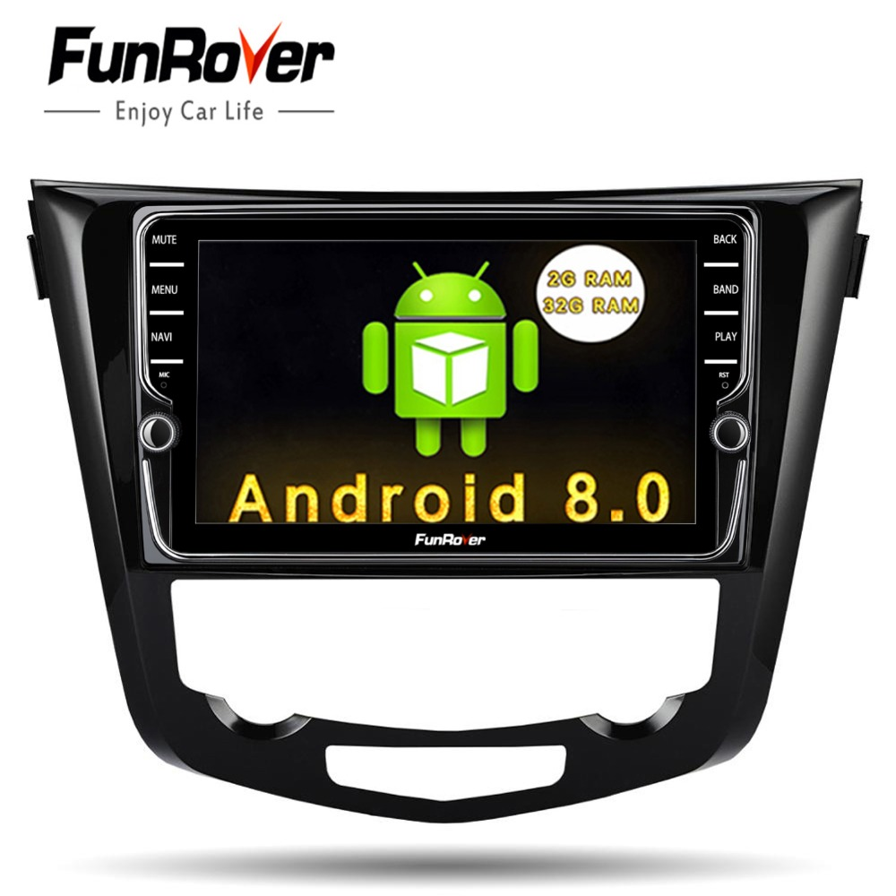 "Funrover 2 din Android 8.0 9"" Car DVD multimedia Player for Nissan X-Trail Qashqail 2014 -2017 radio gps navigation stereo audio"