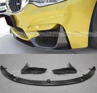 P Style Carbon Fiber Front Bumper Chin Lip Spoiler + Splittes for BMW F80 M3 F82 F83 M4 2014 up Original car accessories