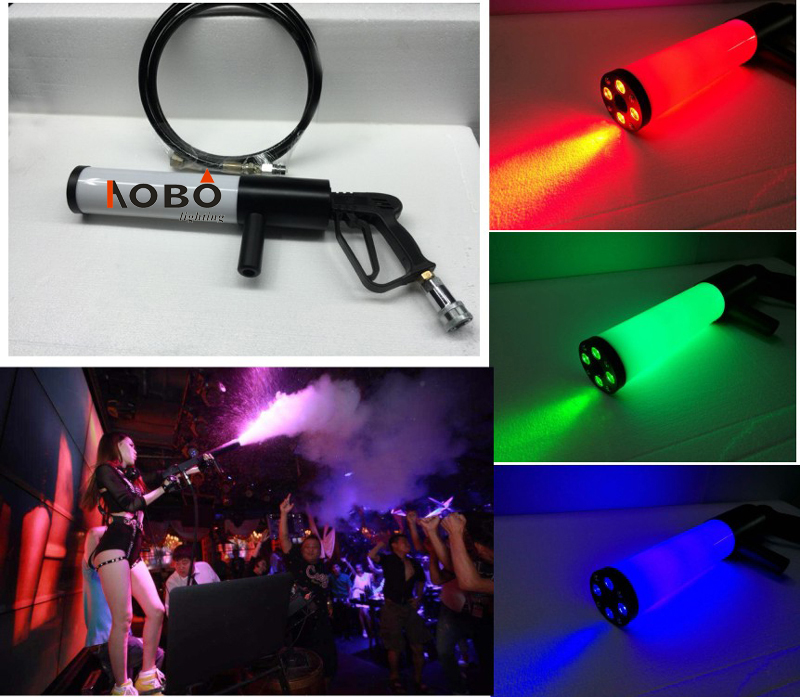 Handheld Led co2 gun RGB Jet machine Special Effects co2 Cannon Fogger Smoke Gun New led co2 gun / led dj gun / dj co2 RGB