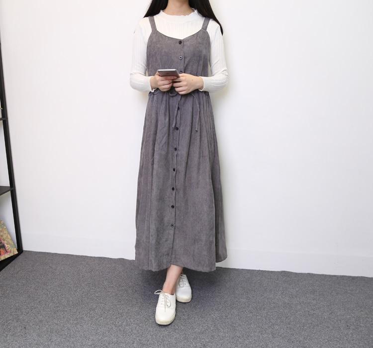 2017 Japanese Vintage Women Strap Long Dresses Korean Fashion