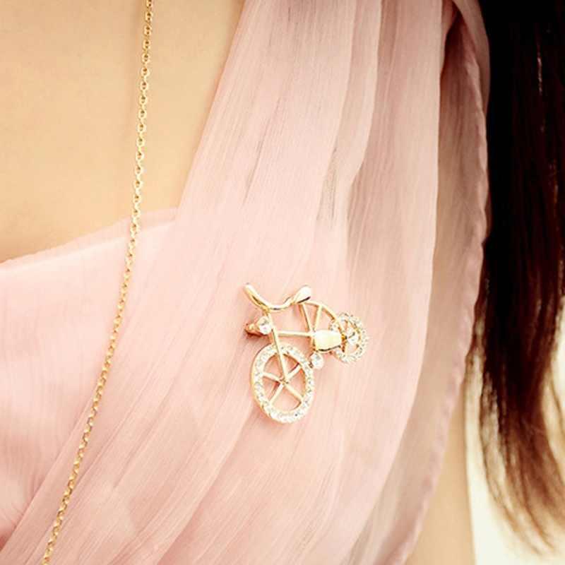 1 pièces élégance or strass vélo forme hommes femmes unisexe scintillant broche broches bijoux cadeau