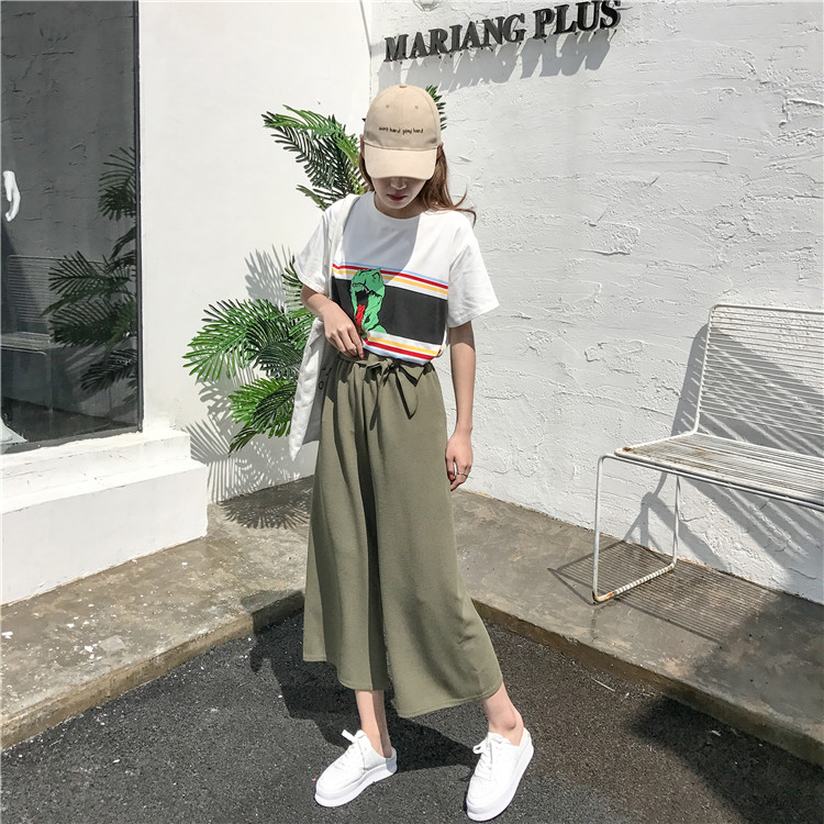 19 Women Casual Loose Wide Leg Pant Womens Elegant Fashion Preppy Style Trousers Female Pure Color Females New Palazzo Pants 15