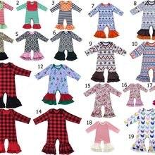 Хлопковый комбинезон в цветочек с рюшами для мальчиков и девочек, песочник для сна, одежда для больницы, ночная Пижама с оборками, рождественские подарки