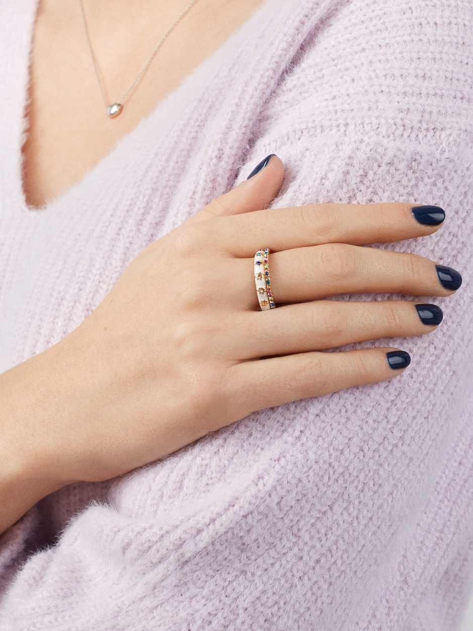 JUJIA ผู้หญิง Boho เกาหลีดาวคริสตัลอัญมณีแหวน Lady Party แหวนแต่งงานสำหรับผู้หญิงเครื่องประดับ