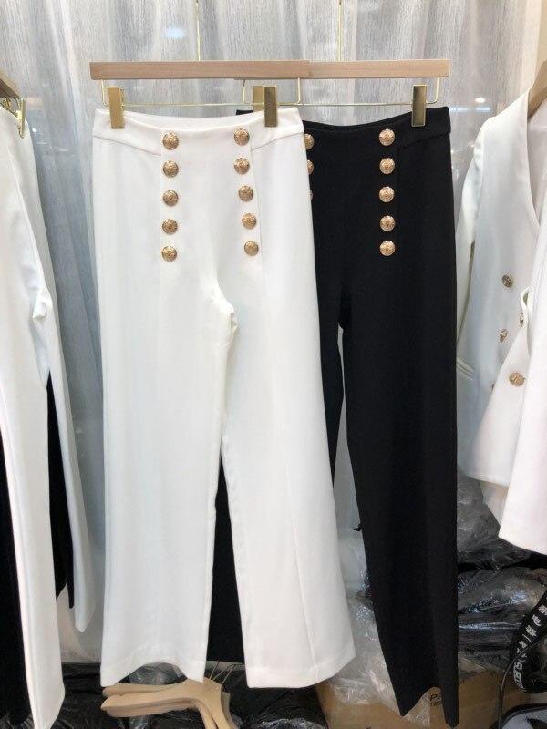 ce8e4e13c Boutonnage D'or Nouveau Femme Zipper Blanc Double Logo Pantalon ...