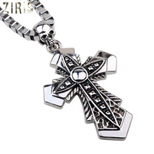 ZIRIS Vintage Punk Statement Necklace Trendy Male Silver Color Cross Crystal Necklace &Pendants For Men Jewelry