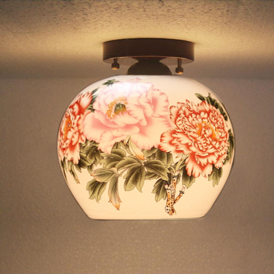 Antique Beautiful Jingdezhen Egg Shell Porcelain Light For Dining Room Bedroom Hotel Ceiling Lamp Chinese Ceiling Lights anqiue led ceiling lamp beautiful chandelier jingdezhen porcelain light for dining bedroom hotel free shipping