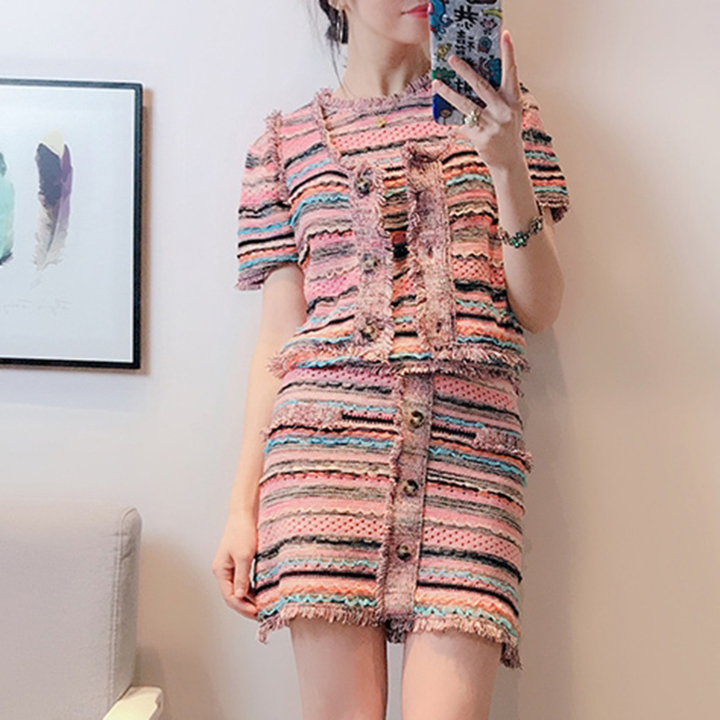 knit 3 Pieces Sets Women Tassel Hit Color striped o-neck short Sleeve tshirt + Single breasted Vest +mini skirt Three-piece Suit