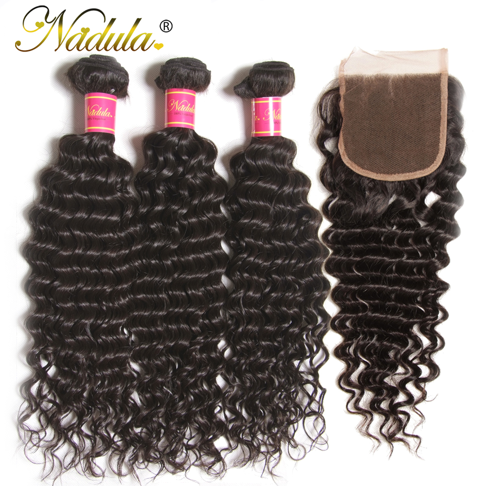 Nadula Hair  Deep Wave Bundles With Closure 4*4 Free Part Closure With   s 3 Bundles With Closure 1