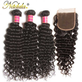 Nadula Hair Peruvian Deep Wave Bundles With Closure 4*4 Free Part Closure With Peruvian Human Hair Weaves 3 Bundles With Closure - DISCOUNT ITEM  35% OFF All Category