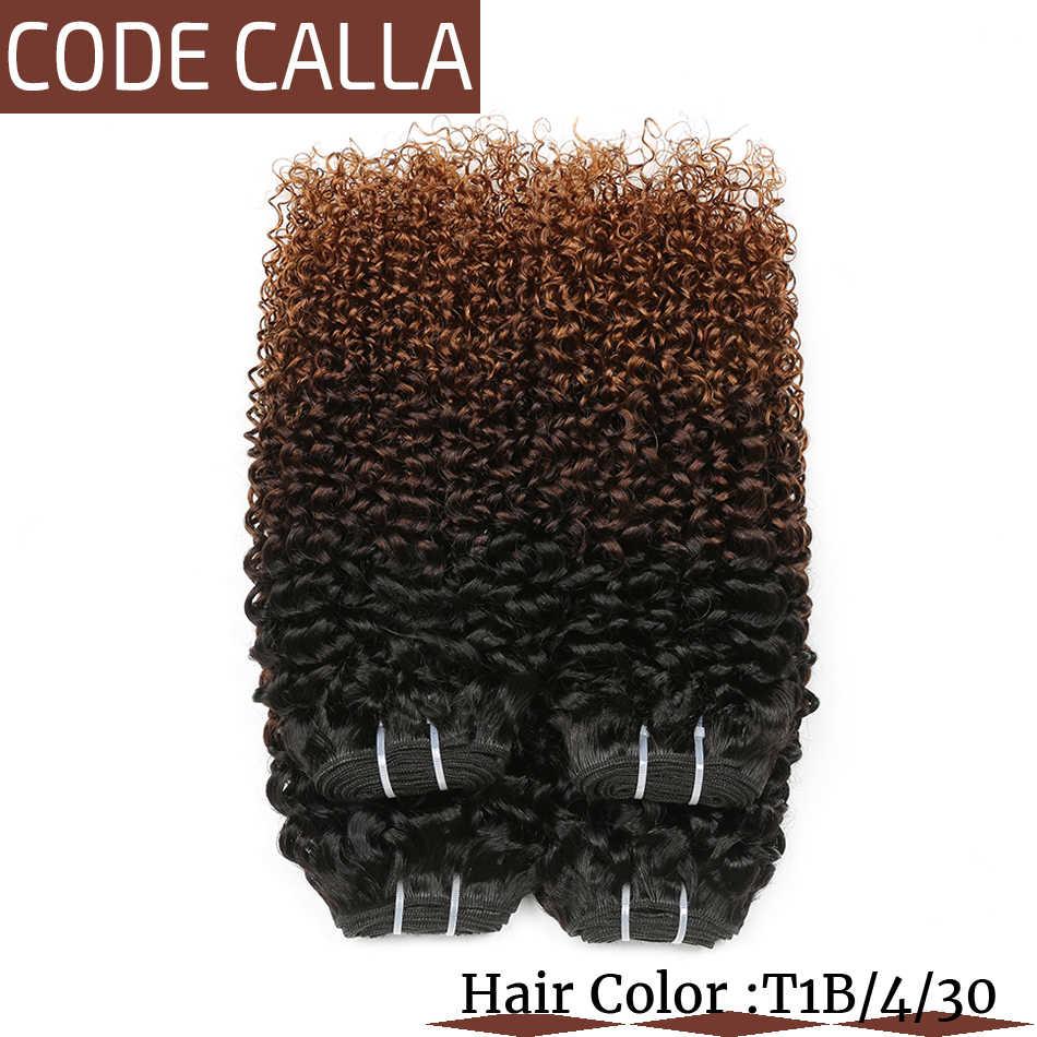 Malaysische Remy Verworrene Lockige Haar Bundles Ombre Blonde Bundles Schuss Haar 100% Menschliches Haar Extensions T1B/4/30 Haarwebart code Calla