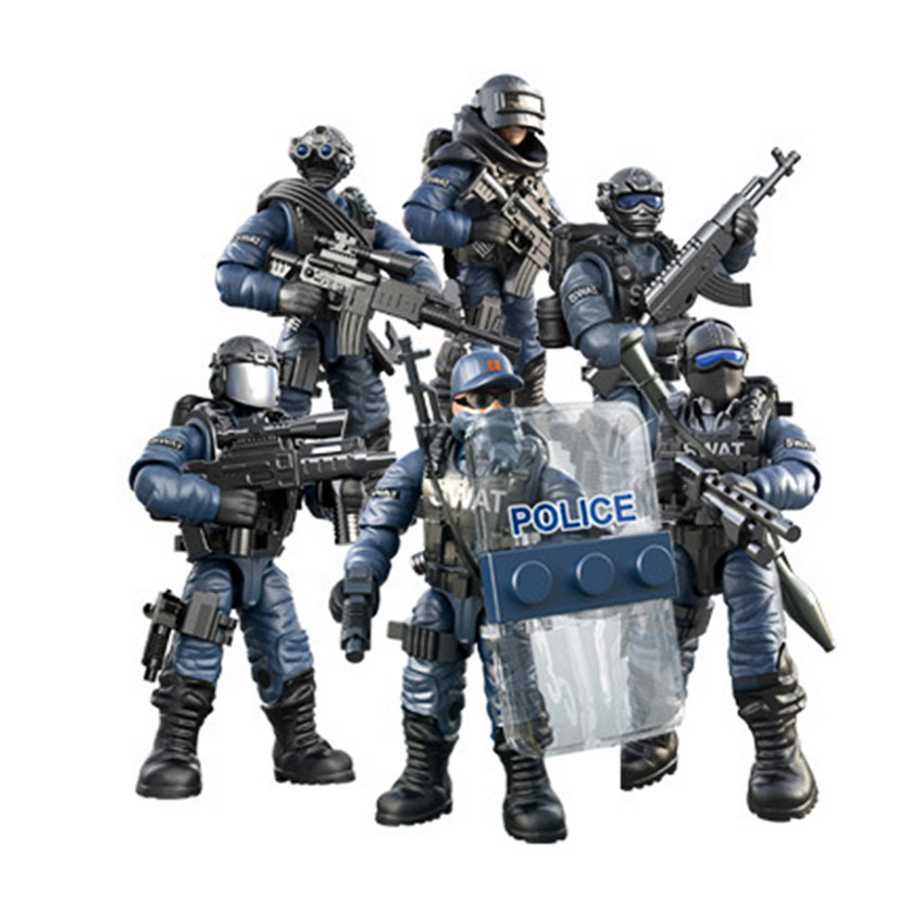 Mini Soldier Set SWAT Special Police Figurines With Building Blocks Gun Army Compatible All Major Brands Toys Gift Dropshipping