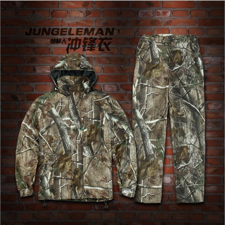 JUNGLEMAN Bionic camouflage Jackets pants sets waterproof windproof spring and autumn scratch-resistant Fishing hunting suits bionic camouflage hunting clothing 4pcs set jacket pant gloves cap suspenders suitable for spring autumn winter hunting suits