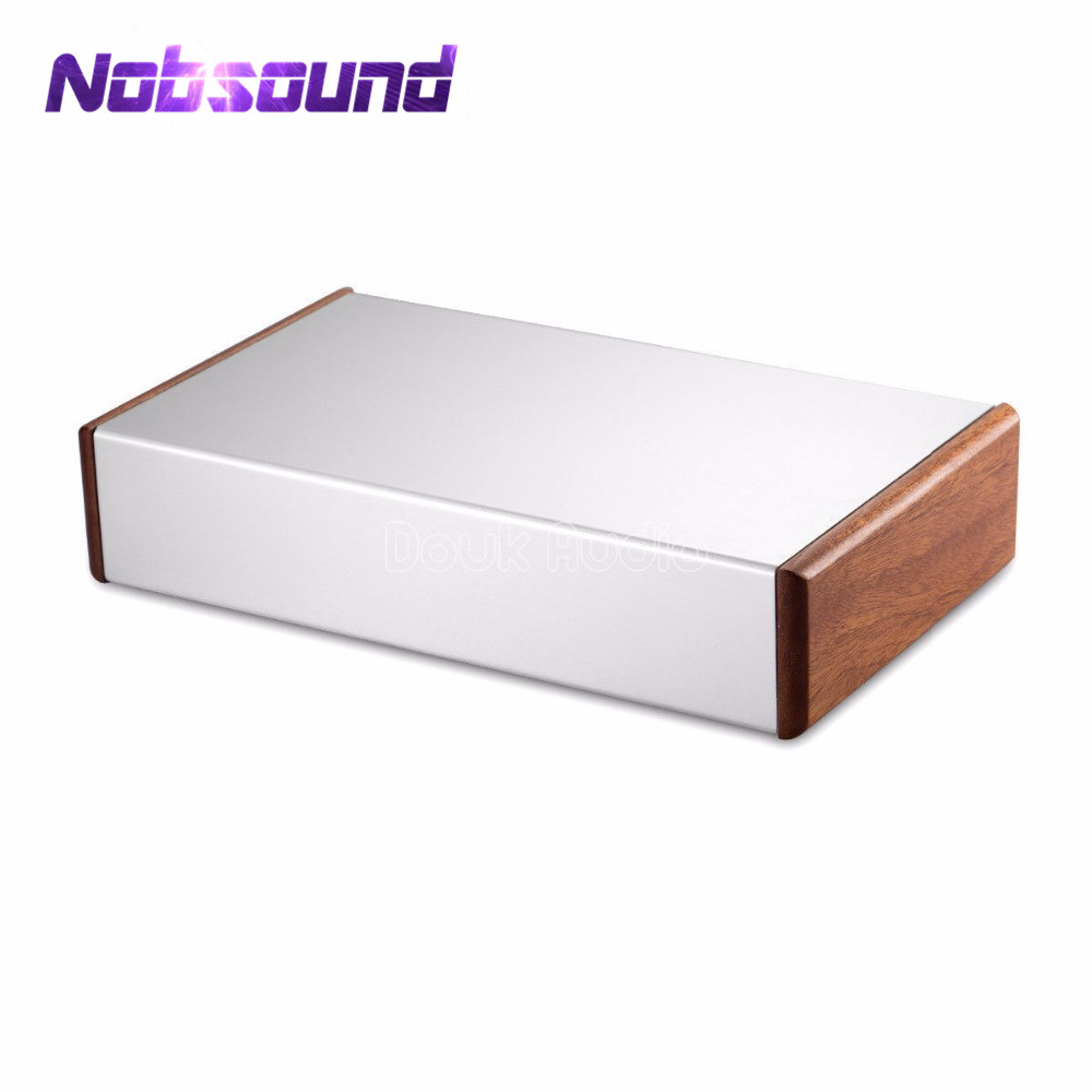 Aluminum Chassis Amplifier Case Wooden Side Panel Box Mini Enclosure DIY House