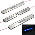 4PCS LED Door Sill Guards Stainless Steel Scuff Plate Welcome Pedal For KIA Sportage R 2011 2012 2013