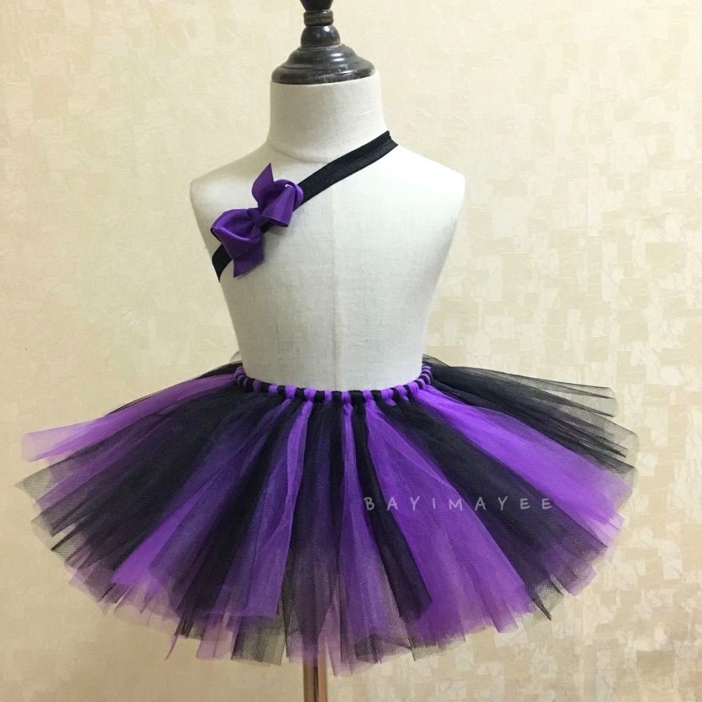 Cute Girls Summer Tutu Gonne Baby Purple Black Tulle Gonne Balletto Pettiskirt Tutu con fiocco Fascia Kids Party Gonne Abbigliamento