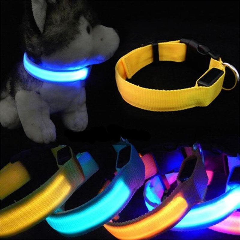 New lights Cool Colorful Pet Dog Collar Night Safety LED Light-up Flashing Glow in the Dark Christmas Gifts Night Pet Collar DA