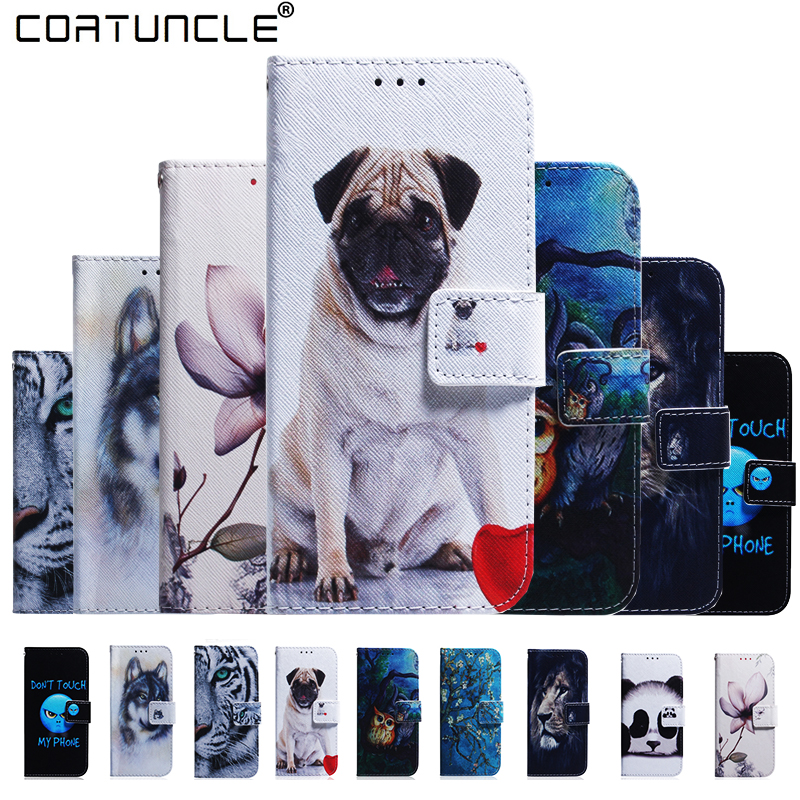Phone Cases For <font><b>Fundas</b></font> <font><b>Huawei</b></font> <font><b>Y6</b></font> <font><b>2019</b></font> Case For Coque <font><b>Huawei</b></font> Y7 <font><b>2019</b></font> Case Y9 <font><b>2019</b></font> Cover Dog owl Wallet Flip Cover Leather Case image