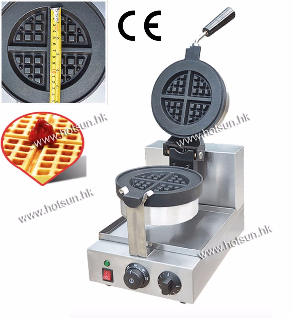 13.5cm Commercial Use Non-stick 110v 220v Electric Rotary Waffle Baker Maker Machine Iron with Drip Tray free shipping commercial use non stick 110v 220v electric 8pcs square belgian belgium waffle maker iron machine baker