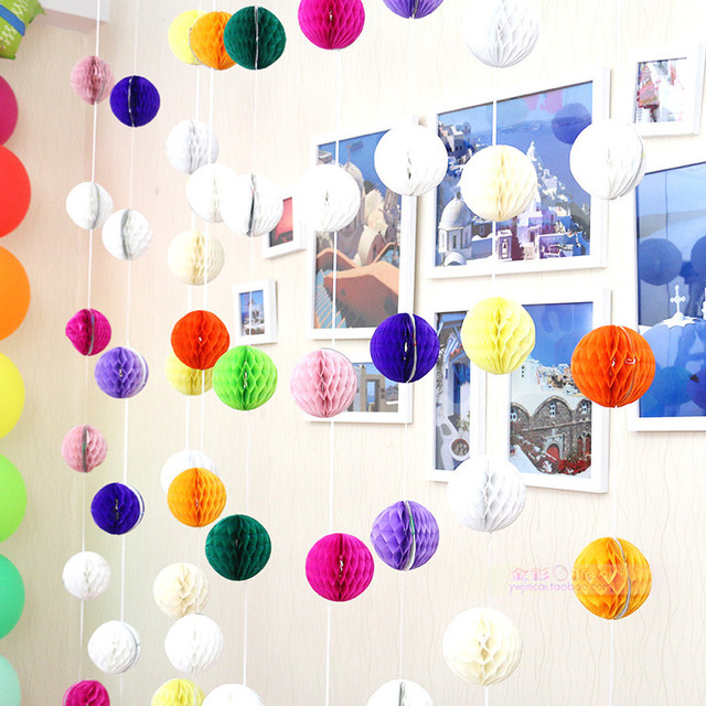 5pcs/lot Small honeycomb ball paper garland for outdoor Home ...