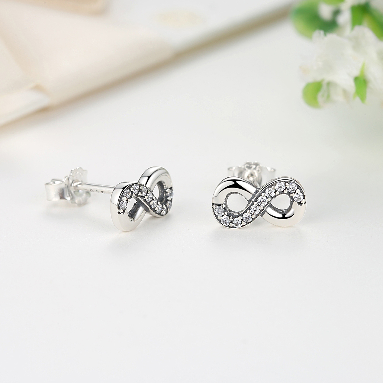 Authentic 100% 925 Sterling Silver Stud Earrings Infinite Love Clear Crystal Earings For Women wHrJJ00v