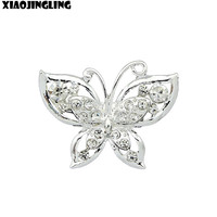 XIAOJINGLING Jewelry Shining Clear Crystal Rhinestone Silver Plated Cute Butterfly Brooch Pin Jewelry Wedding Bridal Party Gift