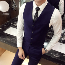 Suit vest mens suit  size S-4XL business casual Slim sleeveless single-breasted V-neck solid color cotton