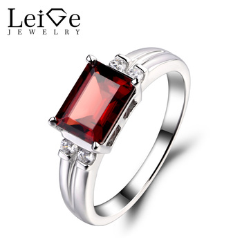 Leige Jewelry Natural Garnet Ring Engagement Rings For Woman Emerald Cut Sterling Sliver 925 Fine Jewelry January Birthstone