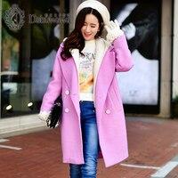 Dabuwawa розового цвета Модный плащ для Для женщин зимнее пальто с капюшоном Для женщин Повседневное кашемировое пальто