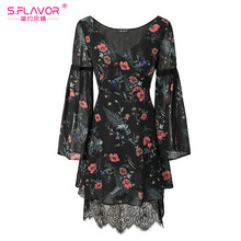 S,FLAVOR Women chiffon lace mini dress 2019 Autumn Winter V-neck flare sleeve elegant vestidos de festa floral printed dress(China)