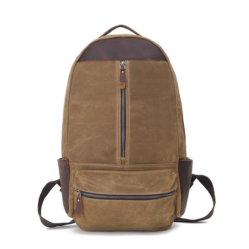 Men Brown Canvas Backpacks High Quality Travel Bags For Large Capacity Double Shoulder Bag Teenage Schoolbag Backpacks H029